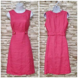 TORY BURCH Pink Linen Blend Sleeveless Dress Sz 8